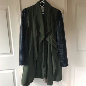 Zara Army Coat with Vegan Leather Sleeves